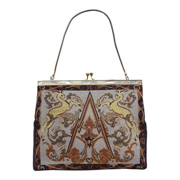 Vintage 1920s Art Deco Gazelle Tapestry Evening Bag