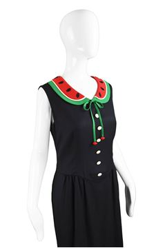 Moschino 1990s Watermelon Collar Crepe Black Vintage Dress