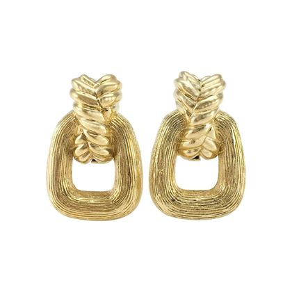 Christian Dior Square Hoop Gold Tone Vintage Earrings