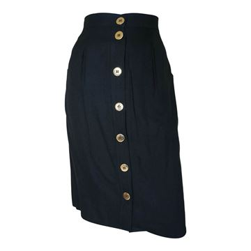 Celine 1980s Button Front Black Vintage Skirt