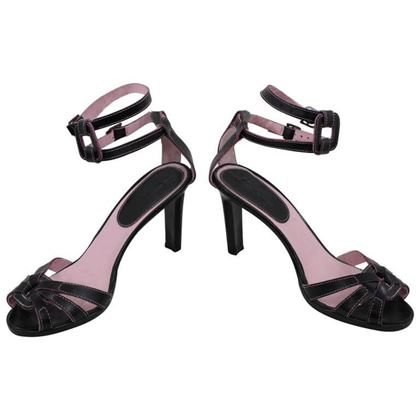 Manolo Blahnik Pink and Black leather Sandals. Size 8 US (38 1/2 EU)