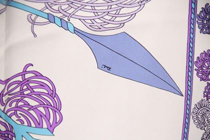 Emilio Pucci Vintage Feather and Arrows Purple Silk Scarf