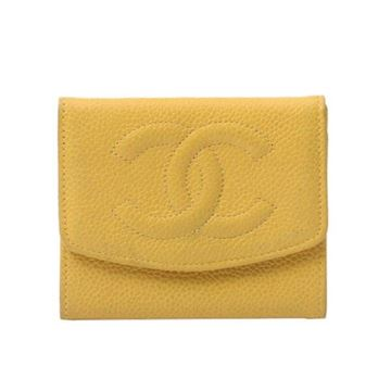 Chanel Vintage Monogram Caviar Leather Yellow Coin Purse Wallet