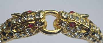 Vintage 1980s Gold Plated Jewelled Leopard Bangle