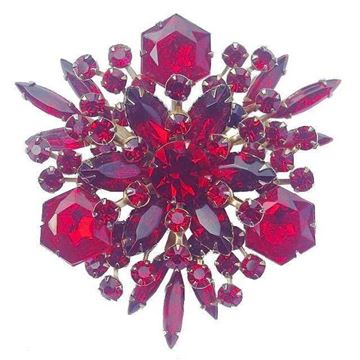 Cathe 1960s Ruby Red Glass Vintage Brooch