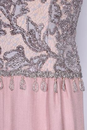Vintage 1960s Beaded Pink Silk Evening Dress