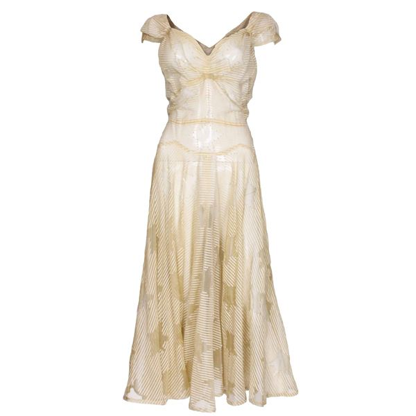 1930s/40s Yellow Evening Dress