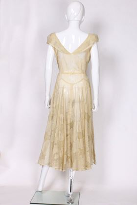 Vintage 1930s / 1940s Star and Stripe Pattern Yellow Evening Dress
