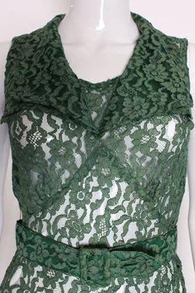 Vintage 1930s Sleeveless Green Lace Evening Gown