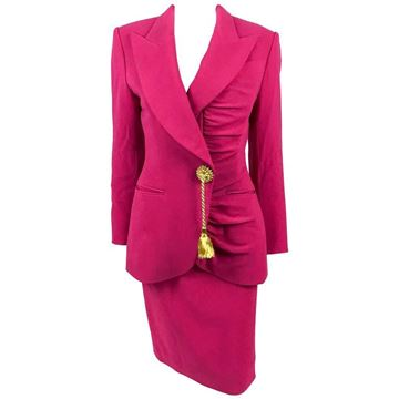Christian Dior 1980s Demi-Couture Tassel Button Wool Crepe Hot Pink Vintage Skirt Suit