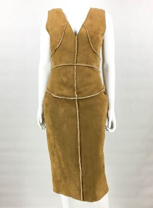 Chanel 1999 Runway Shearling Tan Vintage Dress