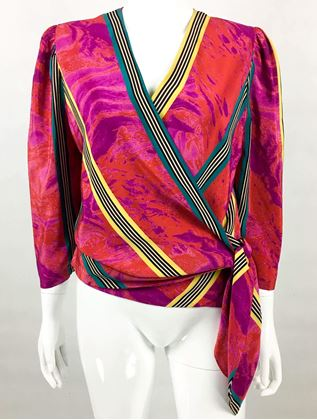 Lanvin Vibrant Abstract Printed Silk Wrap Blouse - 1980's