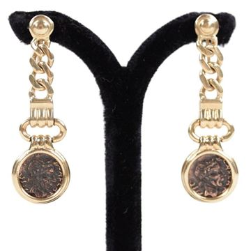 Vintage 1980s Italian Ancient Coin Dangle 18K Yellow Gold Earrings