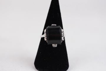 Vintage Black Onyx Italian Silver Cocktail Ring