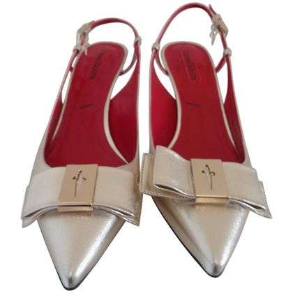Cesare Paciotti Pointed Bow Toe Gold Vintage Sling Back Pumps