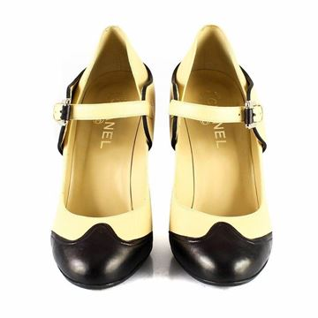 Chanel Mary Jane Block Heel Monochrome Vintage High Heel Shoes