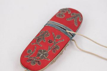 Antique Chinese 1800s Embroidered Silk Red Glasses Case Pouch