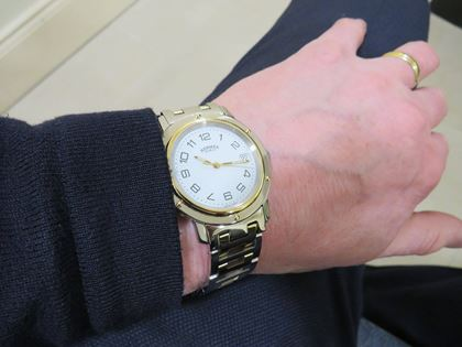 Hermes Gents Clipper H Detail Gold Silver Tone Vintage Watch