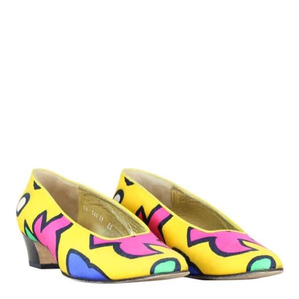 Escada 1980s printed yellow & pink vintage pumps