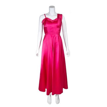 Vintage 1930s Satin Shocking Pink Evening Gown