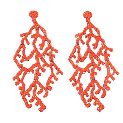 Luxury Fashion Coral Shape Rhinestones Red Vintage Earrings