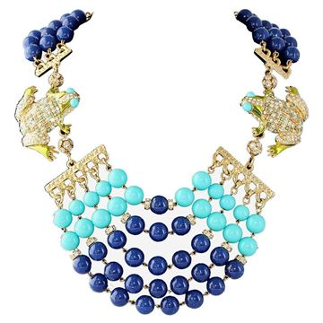 Carlo Zini Frog and Beaded Blue Vintage Necklace