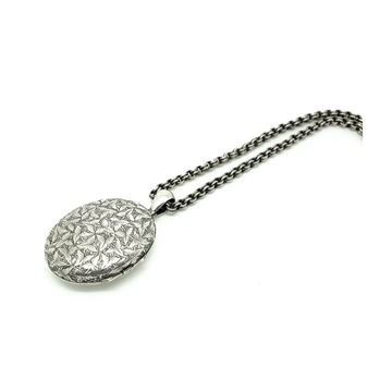 Antique Victorian Ivy Engraved Silver Locket Necklace