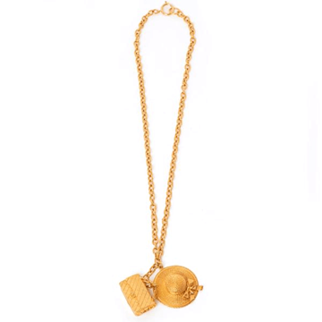 Chanel 1970s boater hat classic bag gold tone vintage charm necklace