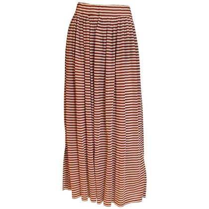 Courreges 1970s Striped Brown and White Vintage Maxi Skirt