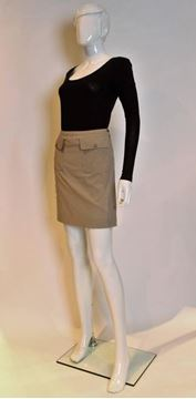 Celine 1990s Patch Pocket Pale Brown Vintage Mini Skirt