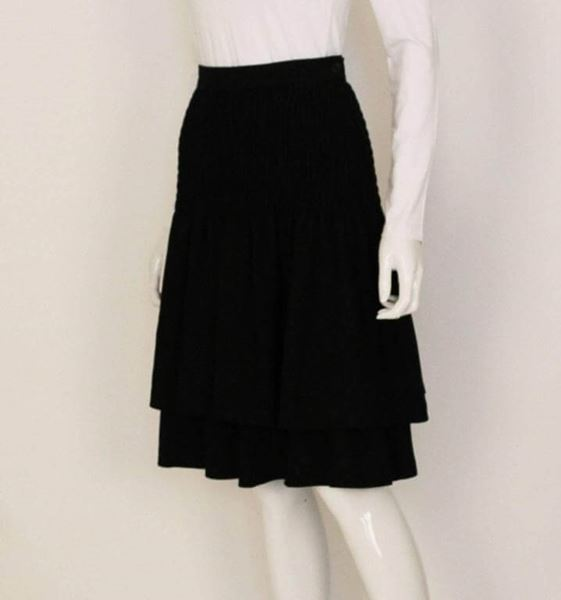Valentino 1980s Smocked Layered Wool Black Vintage Midi Skirt