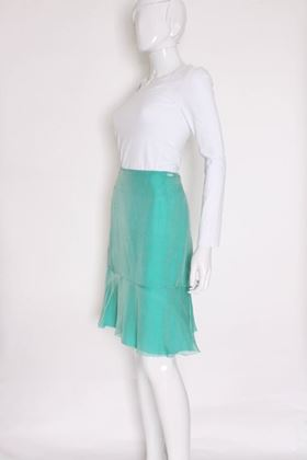 Chanel Silk Chiffon Sea Green Vintage Midi Skirt