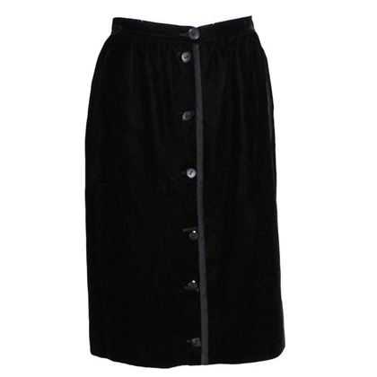 Valentino 1990s Miss V Velvet Button Front Black Vintage Skirt