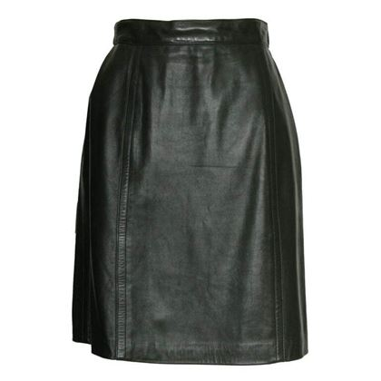 Celine 1980s Leather Green Vintage Skirt