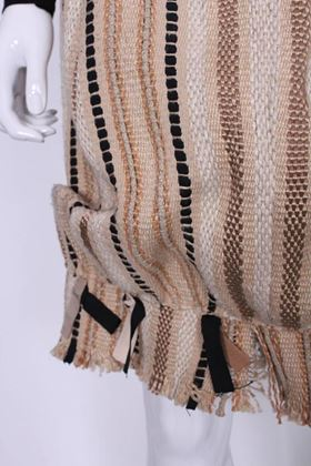 Yves Saint Laurent Rive Gauche 1990s Woven Ribbon Beige Vintage Bubble Skirt