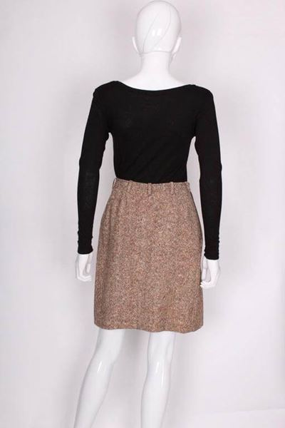 Yves Saint Laurent Rive Gauche 1970s Tweed Wrap Brown Vintage Skirt