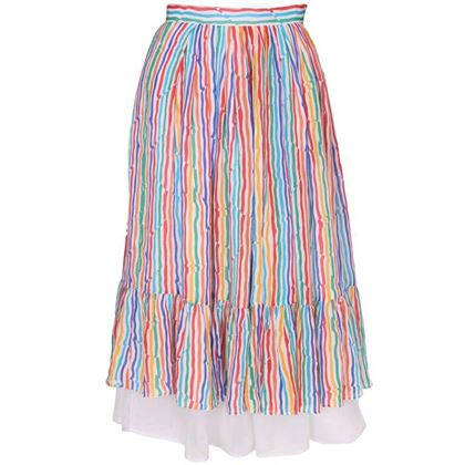 Caroline Charles 1970s Striped Silk Layered Multicoloured Vintage Midi Skirt