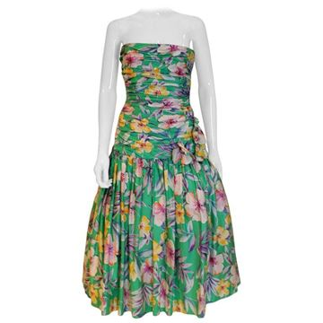 Victor Costa 1980s Floral Gathered Bustier Green Vintage Evening Dress