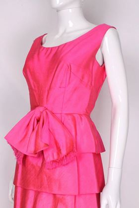 Harrods 1960s Raw Silk Layered Bright Pink Vintage Cocktail Dress