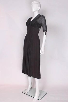 Worth 1950s Chiffon Sleeve Dark Grey Vintage Evening Dress