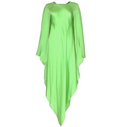 Oscar de la Renta 1970s Silk Angel Sleeve Green Vintage Evening Dress