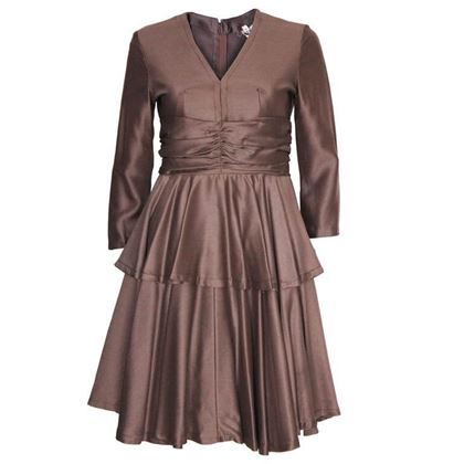 Jean Varon Layered Skirt Brown Vintage Cocktail Dress