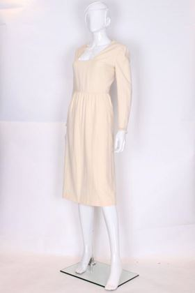Courreges 1960s Wool and Silk Model 29074 White Vintage Midi Dress