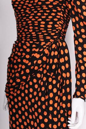 Bill Blass 1970s Silk Polka Dot Black and Orange Vintage Dress