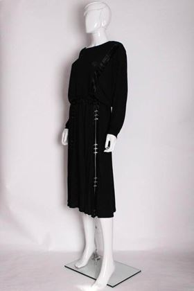 Janice Wainwright 1970s Velvet Trim Black Vintage Midi Dress