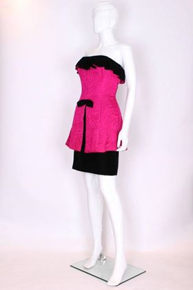 Vintage 1980s Frill Bustier Black and Pink Vintage Cocktail Dress