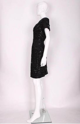 Jeanne Paquin 1950s Squiggle Sequin Black Vintage Cocktail Dress