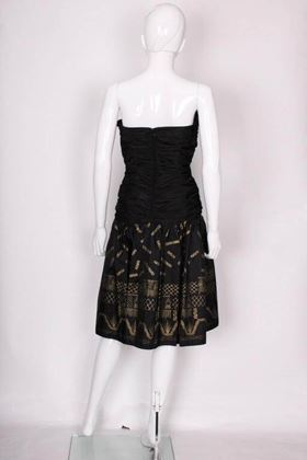 Zandra Rhodes 1980s Silk Taffeta Black and Gold Painted Vintage Cocktail Dress