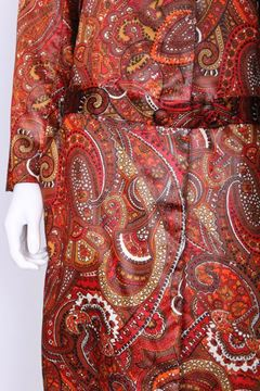 Bill Blass for Bond Street 1970's Paisley Print Red and Orange Vintage Coat
