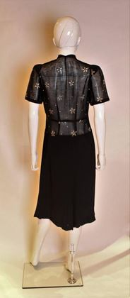 Vintage 1940s Crepe & cotton Black Vintage Midi Dress